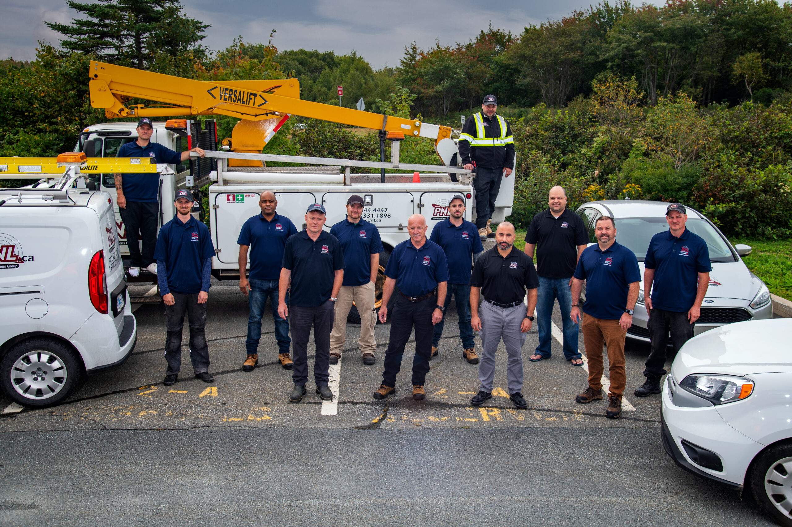 PNL Electrical Contracting Employees with boom truck